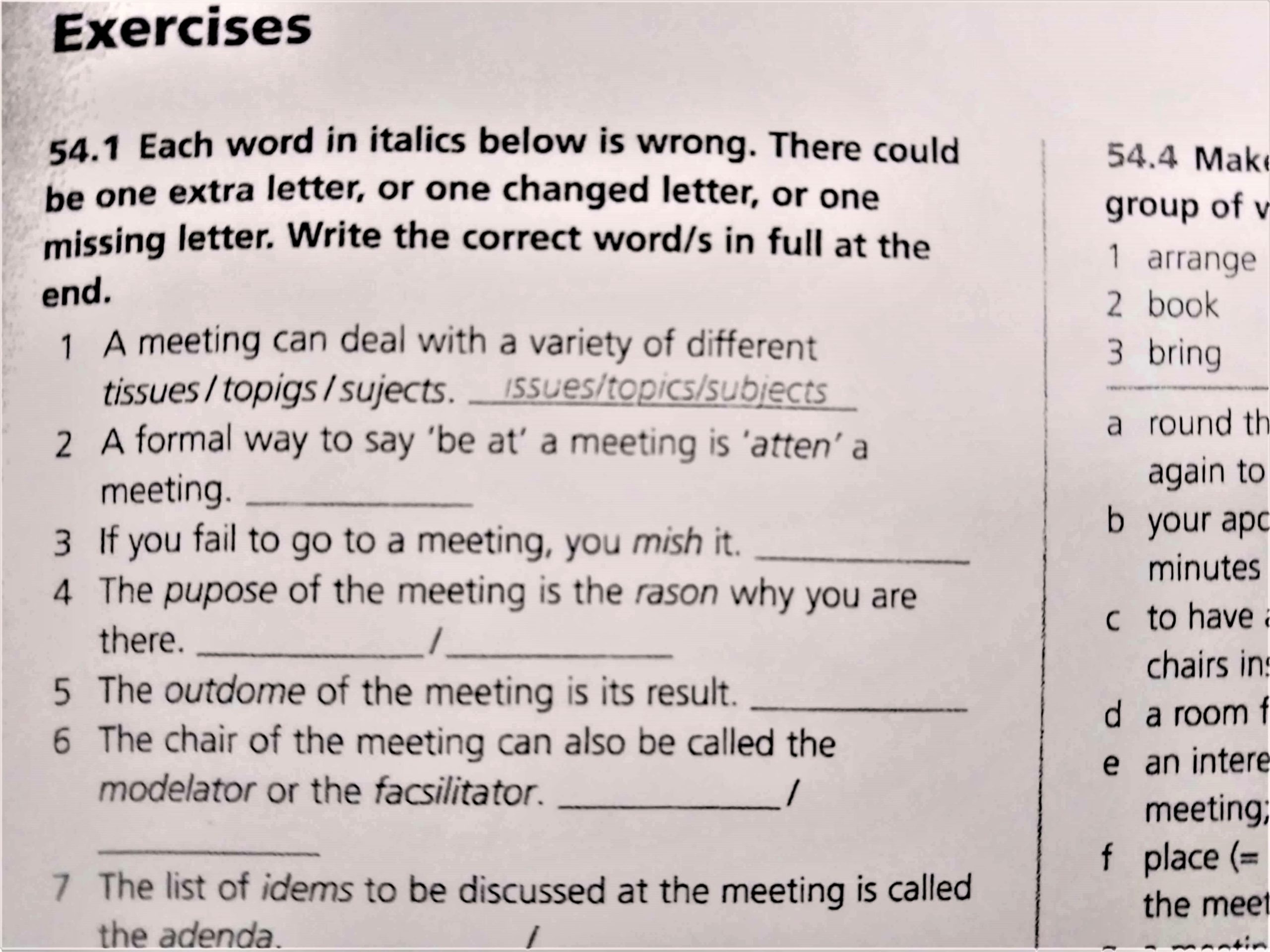Meeting Exercises
